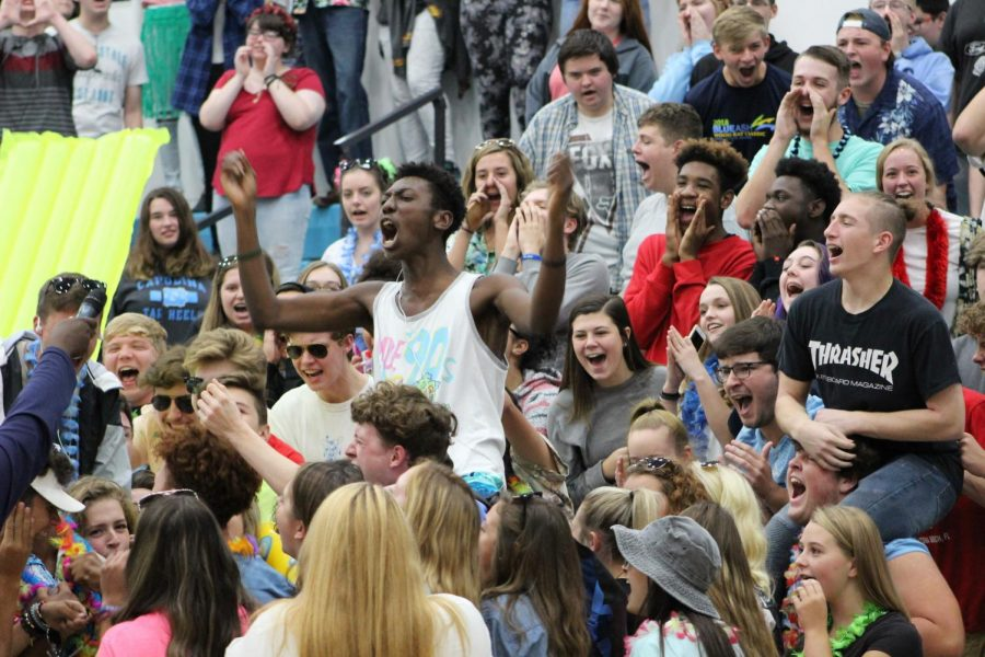 The juniors scream during the pep rally.