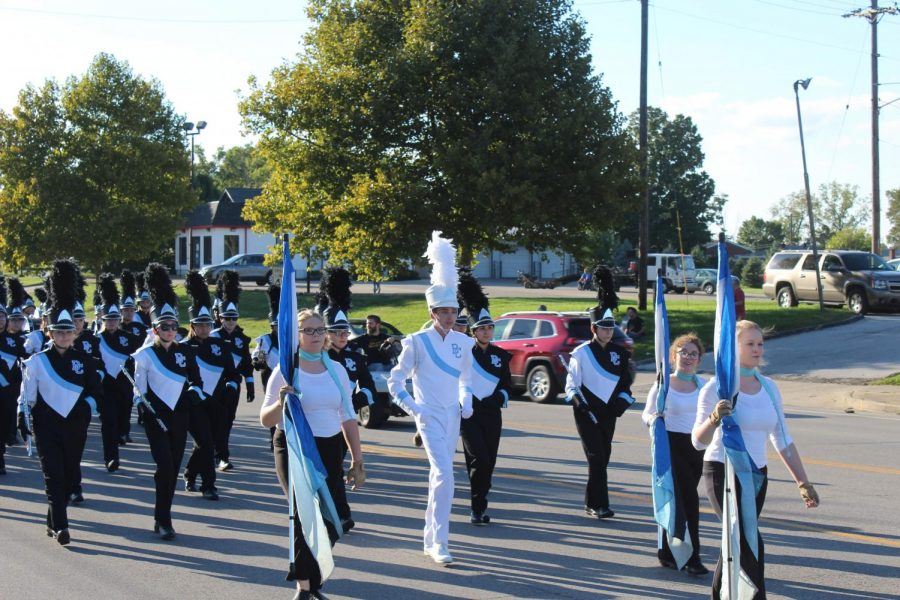 The band marches during the parade.
