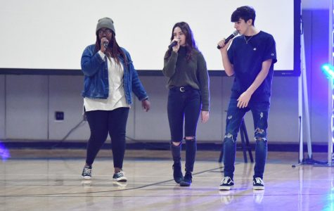 Members of the Legacy Culture vocal group perform in the Boone gymnasium on Jan. 18 as part of an anti-bulling program.