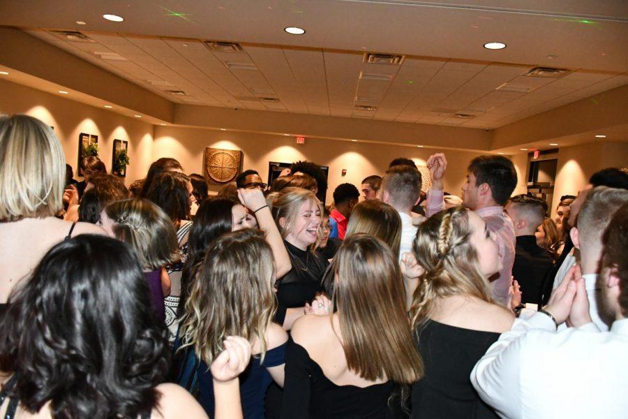 A crowd of seniors enjoy themselves at the Senior Dinner Dance on 1/26/19