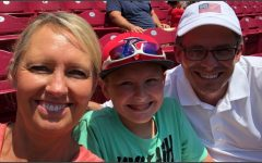 Boone business teacher Jennifer Inman and her son and husband take a selfie before a Chicago Cubs Cincinnati Reds game at Great American Ballpark last summer.