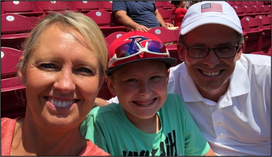 Boone+business+teacher+Jennifer+Inman+and+her+son+and+husband+take+a+selfie+before+a+Chicago+Cubs+Cincinnati+Reds+game+at+Great+American+Ballpark+last+summer.
