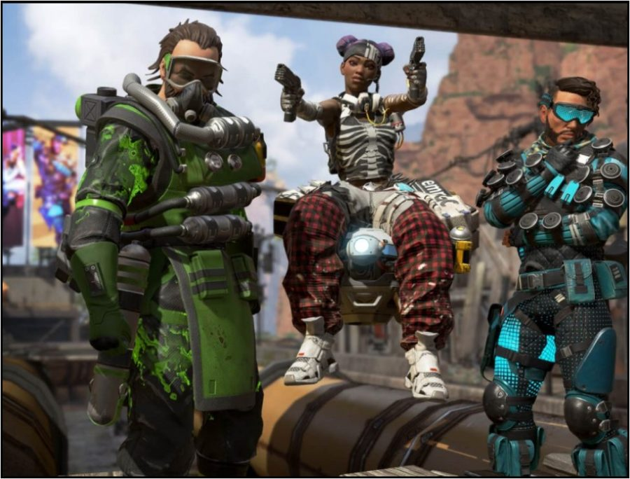 Apex Legends characters (LEFT TO RIGHT): Caustic, Lifeline, and Mirage wearing unlockable clothing in the King's Canyon arena.
