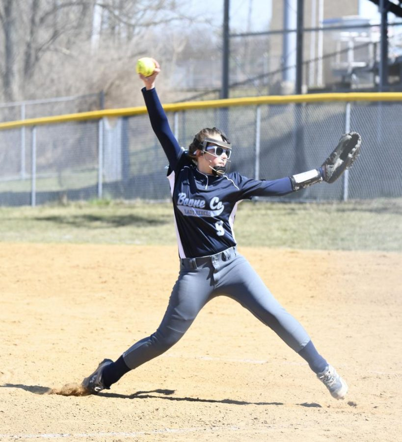 Freshman+Kaitlyn+Irwin+pitches+in+Boone+County%27s+game+against+Grant+County+on+Saturday%2C+March+23.+The+Rebels+won+the+game+10-4.
