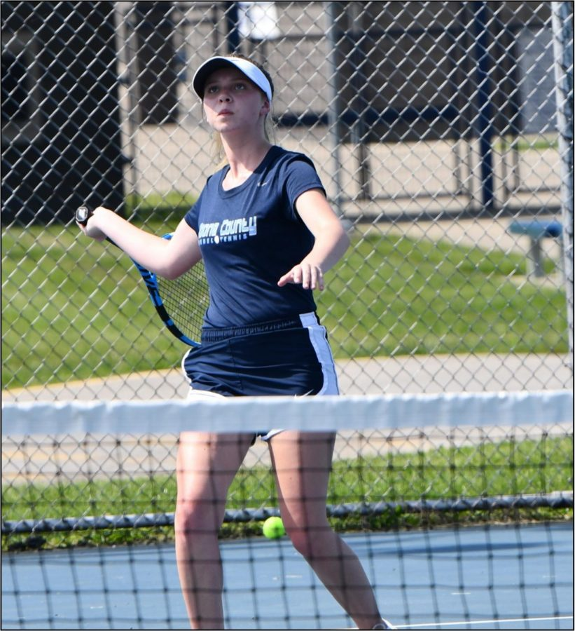 Freshman+Alana+Tinnell+plays+in+a+match+at+Scott+High+School+on+May+8.+Tinnell+won+the+match+and+has+been+leading+her+team+as+the+No.+1+singles+player.
