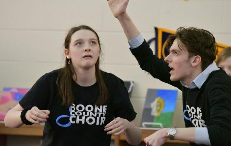 Seniors Abby Johnson and Bryce Herzner perform an improvisation act during the arts showcase at Boone Legacy Night on Feb. 12.