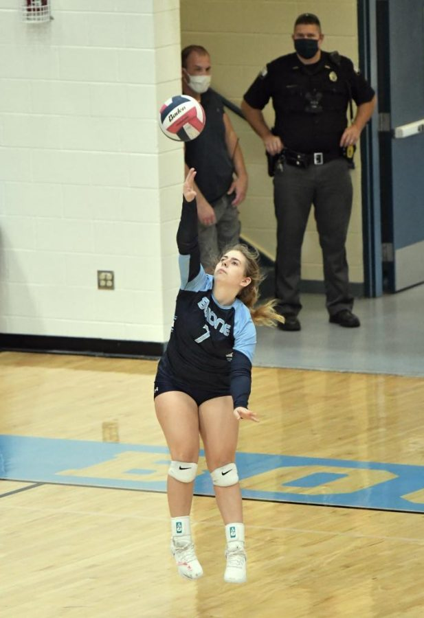 Junior Leeann Zembrodt serves during the Oct. 3 match at home against Bishop Brossart. Boone won the match 3-0.