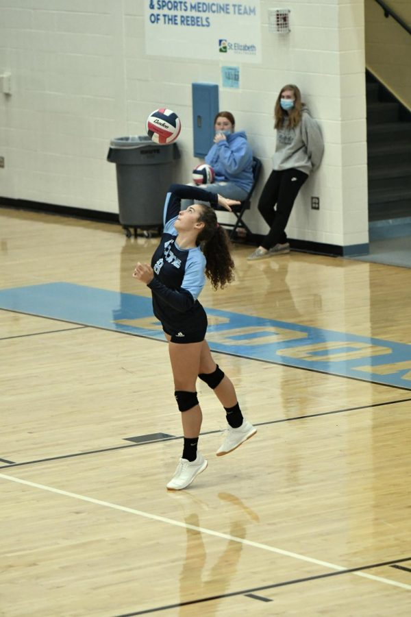Senior Danielle Funke serves during the Oct. 3 match at home against Bishop Brossart. Boone won the match 3-0.