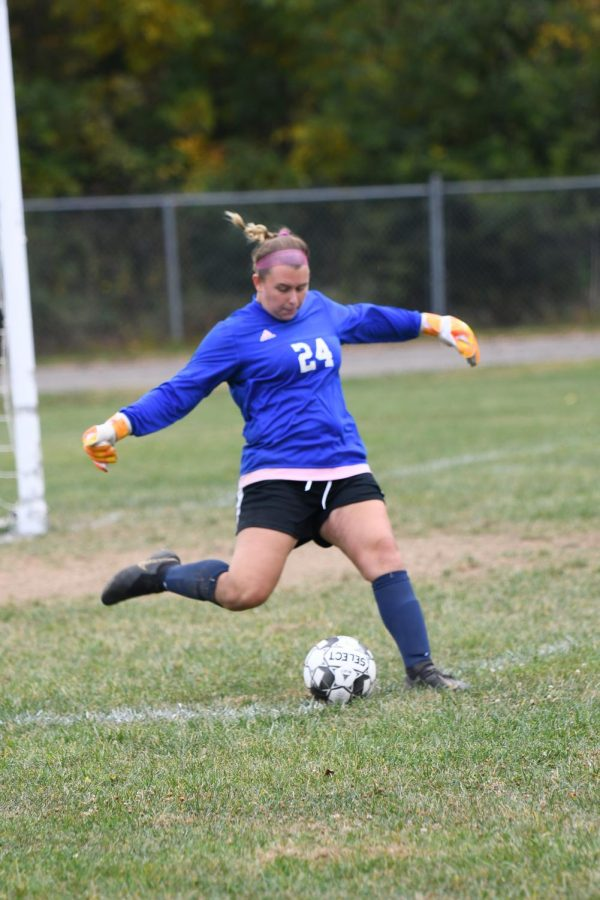 Senior Morgan Daniels takes a goal kick during Boone County's 2-1 win over Holy Cross on Oct. 10 in Covington.