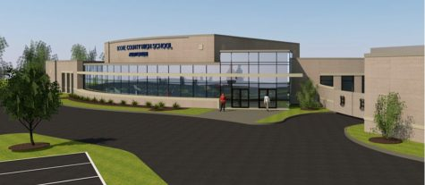 An artists rendering depicts the new performing arts center as it will appear from the parking lot outside the cafeteria. The facility is expected to be ready for the 2021-2022 school year.