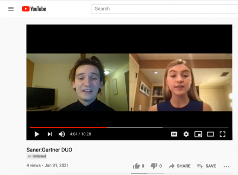 A screenshot from YouTube shows seniors Robert Saner and Katie Gartner performing their duo oral interpretation for the regional forensics competition that took place Feb. 3-6.
