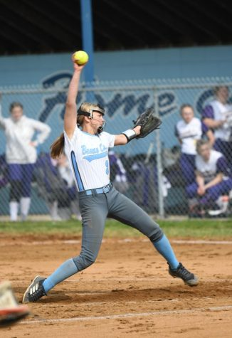 Junior K.B. Irwin pitches during the fast pitch softball home game against Campbell County on May 10.